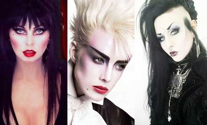 Da destra: Elvira la vampira, un makeup new romantic ed uno deathrock