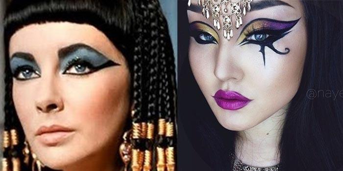 Trucco in stile egiziano, corretto e non corretto