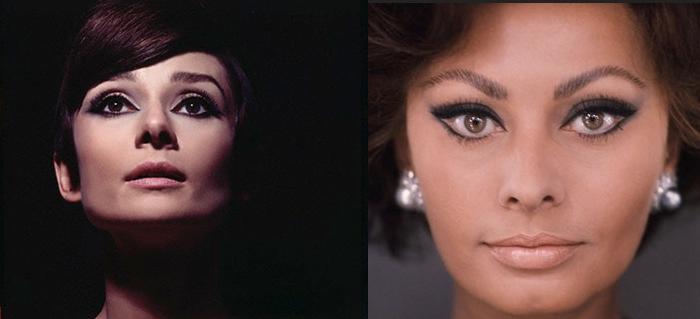 Trucco anni '60 di Audrey Hepburn e Sofia Loren