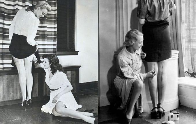 Le donne alle prese con la mancanza delle calze in nylon